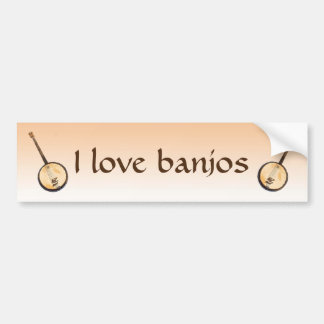 I Love Banjo Music Instruments Bumper Sticker
