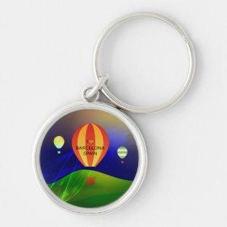 I Love Barcelona Spain Hot Air Balloon Keychain