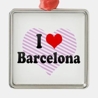 I Love Barcelona, Spain Silver-Colored Square Ornament