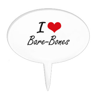 I Love Bare-Bones Artistic Design Cake Picks