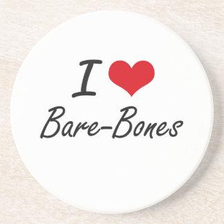 I Love Bare-Bones Artistic Design Coasters