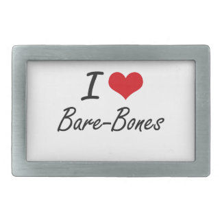 I Love Bare-Bones Artistic Design Rectangular Belt Buckle