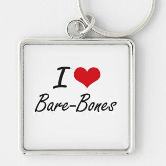 I Love Bare-Bones Artistic Design Silver-Colored Square Keychain