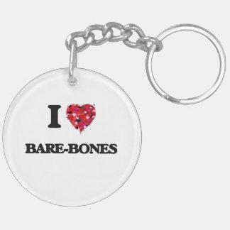I Love Bare-Bones Double-Sided Round Acrylic Keychain