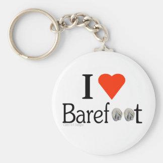 I Love Barefoot hooves keyring