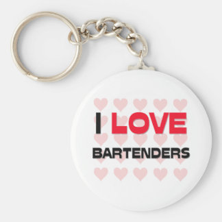 I LOVE BARTENDERS BASIC ROUND BUTTON KEYCHAIN