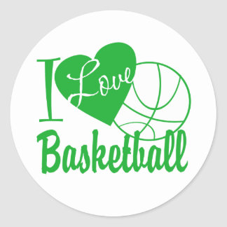 I Love Basketball Classic Round Sticker