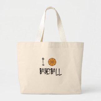 I Love Basketball Large Tote Bag
