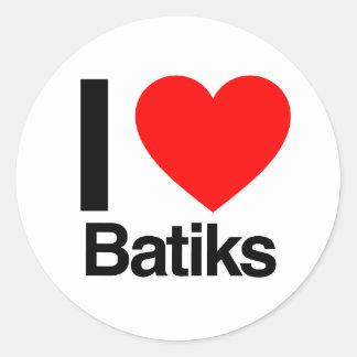 i love batiks round sticker