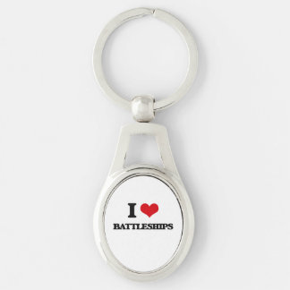 I Love Battleships Silver-Colored Oval Metal Keychain