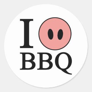 I Love BBQ Round Sticker