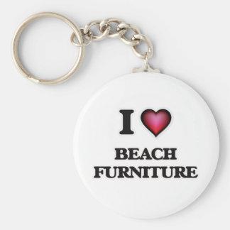 I Love Beach Furniture Keychain