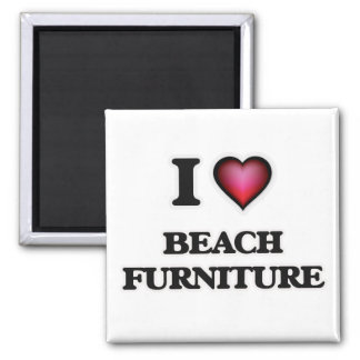 I Love Beach Furniture Square Magnet
