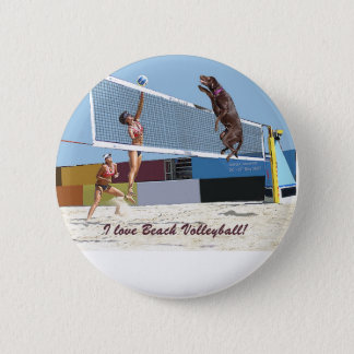 I love beach volleyball 2 inch round button