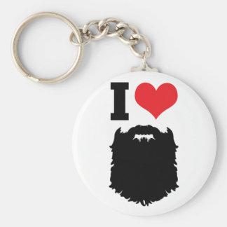 I Love Beards Basic Round Button Keychain