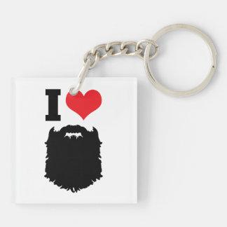 I Love Beards Double-Sided Square Acrylic Keychain