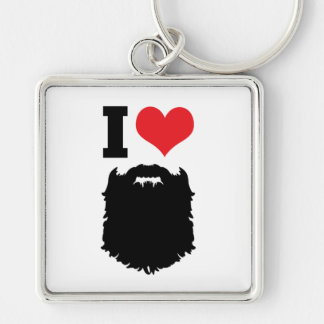 I Love Beards Silver-Colored Square Keychain