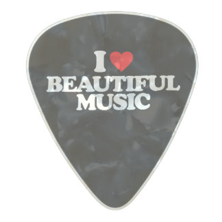 I LOVE BEAUTIFUL MUSIC PEARL CELLULOID GUITAR PICK