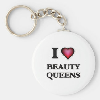 I Love Beauty Queens Basic Round Button Keychain