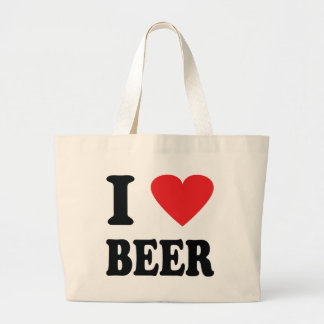 I love beer icon large tote bag