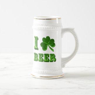 I Love Beer Shamrock St. Patrick Day stein