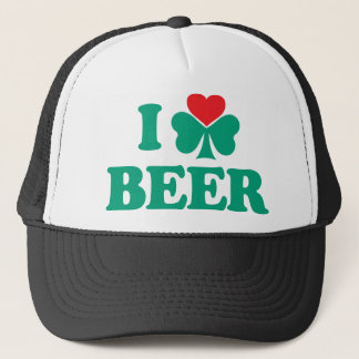 I Love Beer Shamrock Trucker Hat