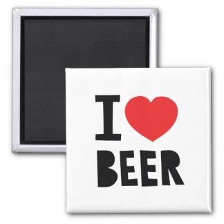 I love beer square magnet