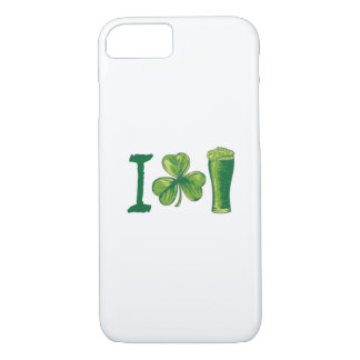 I Love Beer St. Patrick's Day Shamrocks Funny iPhone 8/7 Case