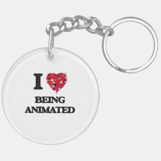 I Love Being Animated Double-Sided Round Acrylic Keychain