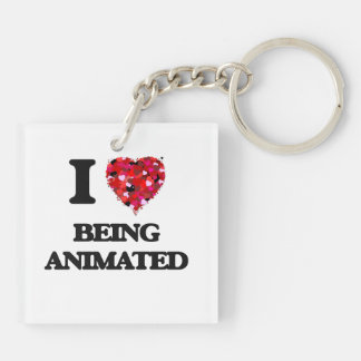 I Love Being Animated Double-Sided Square Acrylic Keychain