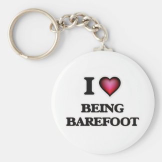 I Love Being Barefoot Basic Round Button Keychain