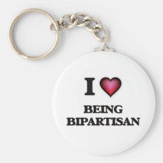 I Love Being Bipartisan Basic Round Button Keychain