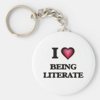 I Love Being Literate Basic Round Button Keychain