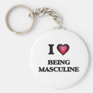 I Love Being Masculine Basic Round Button Keychain