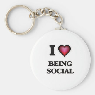 I love Being Social Basic Round Button Keychain
