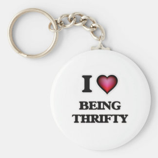 I love Being Thrifty Basic Round Button Keychain