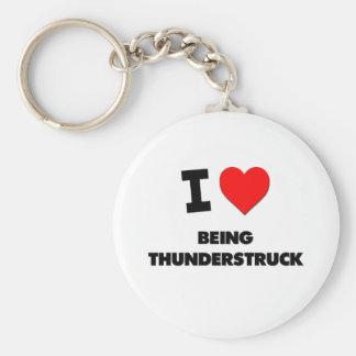 I love Being Thunderstruck Basic Round Button Keychain