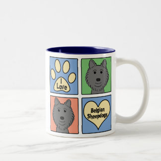I Love Belgian Sheepdogs Two-Tone Coffee Mug