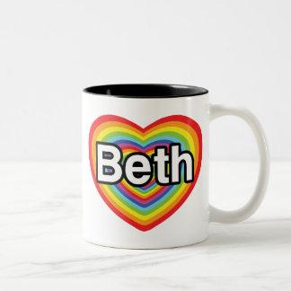 I love Beth: rainbow heart Two-Tone Coffee Mug