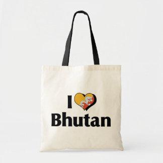 I Love Bhutan Flag Tote Bag