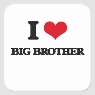 I Love Big Brother Square Stickers