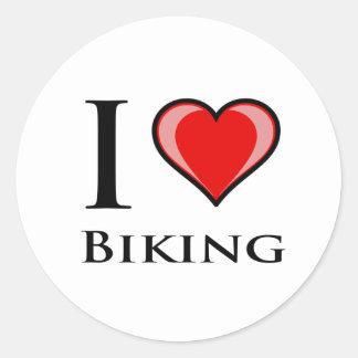 I Love Biking Round Sticker