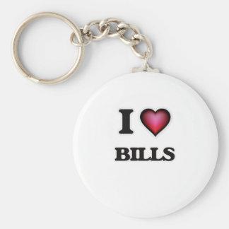 I Love Bills Basic Round Button Keychain