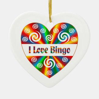 I Love Bingo Ceramic Ornament