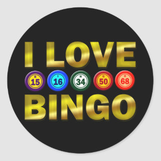 I LOVE BINGO CLASSIC ROUND STICKER
