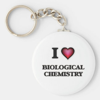 I Love Biological Chemistry Basic Round Button Keychain