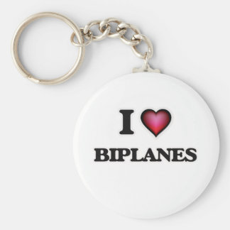 I Love Biplanes Keychain