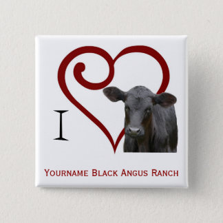 I love Black Angus Beef 2 Inch Square Button