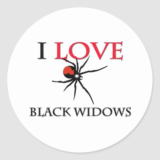 I Love Black Widows Classic Round Sticker