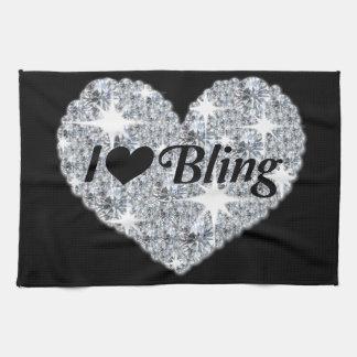 I Love Bling Kitchen Towel in Black